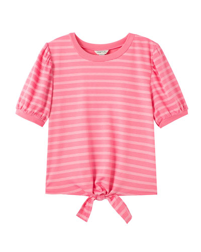 Brynlee Striped Puffy Sleeves Shirt  Size 7-14