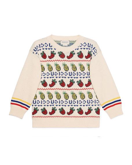 Gucci Fruit & Logo Intarsia Sweater, Size 4-12