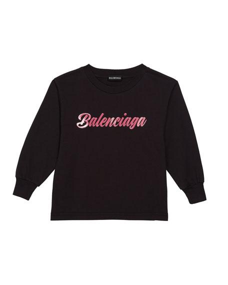 Balenciaga Kid's Script Logo Long-Sleeve T-Shirt, Size 2-10