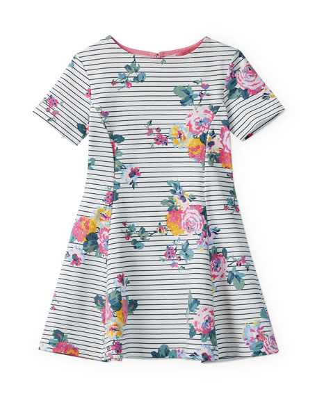 Joules Erin Floral-Print Short-Sleeve Dress, Size 3-12
