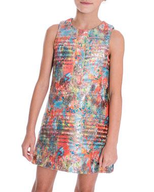 592147e856bd Zoe Sienna Garden Woven Metallic Jacquard Shift Dress, Size 7-16
