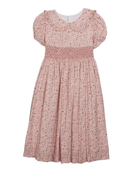Luli & Me Girl's Floral Peter Pan Collar Dress, Size 5-6X