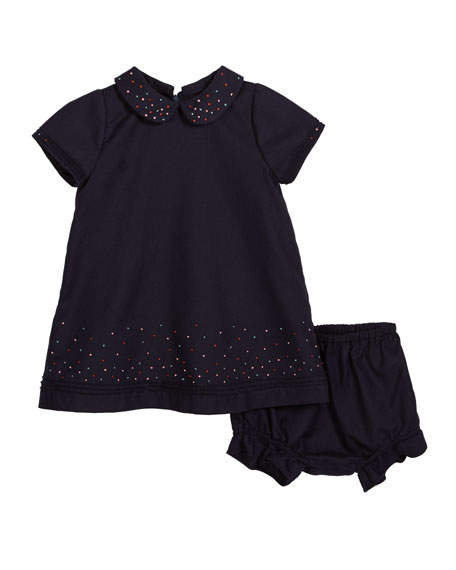 Luli & Me Embroidered Dot Collared Dress w/ Bloomers, Size 2-4T