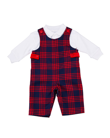 Florence Eiseman Boy's Plaid Overalls w/ Long-Sleeve Polo Shirt, Size 6-24 Months