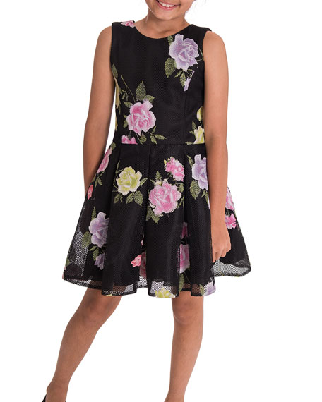Zoe Dahlia Floral Perforated Knit Party Dress, Size 4-6X