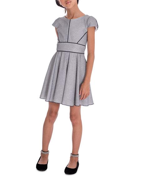 Zoe Piper Metallic Knit Swing Dress, Size 7-16