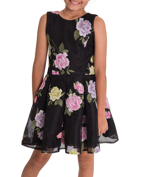 Zoe Dahlia Floral Perforated Knit Party Dress, Size 7-16