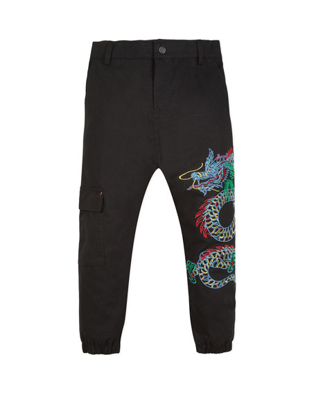 Kenzo Japanese Dragon Embroidered Cargo Pants, Size 2-12