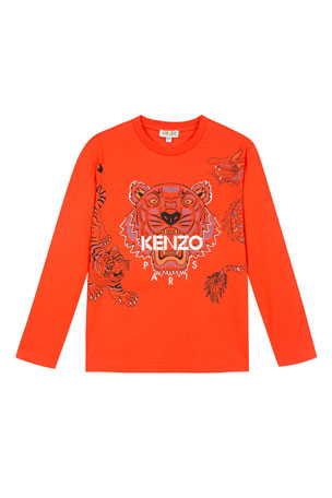 Kenzo Long-Sleeve Tiger & Dragon Print Tee, Size 2-6