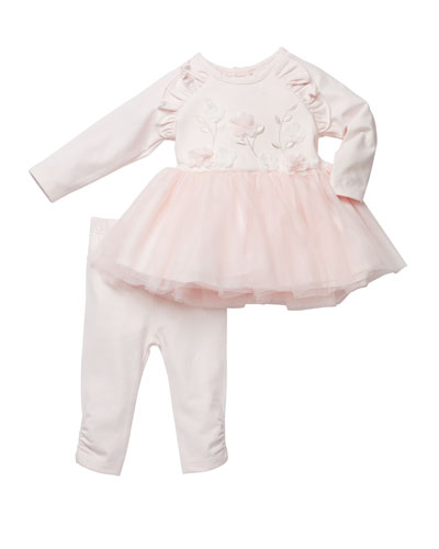 Floral Embroidered Tutu Top w/ Pants  Size 3-24 Months