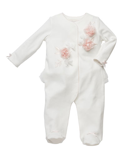 3D Flower Footed Coverall Footie  3-9 Months