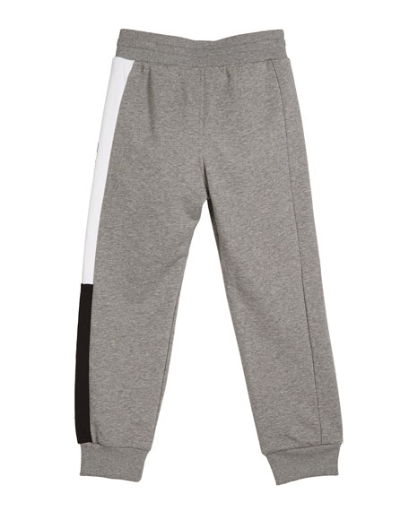 Givenchy Boy's Heathered Logo Trim Joggers, Size 4-10