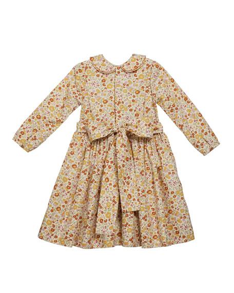 Isabel Garreton Girl's Long-Sleeve Smocked Floral Print Dress, Size 2T-6