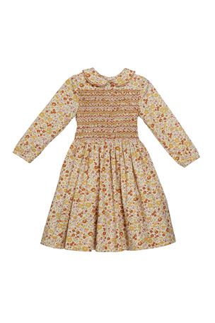 Isabel Garreton Girl's Long-Sleeve Smocked Floral Print Dress, Size 2T-6