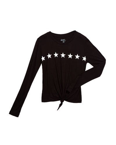 Girl's Star Graphic Tie Front Tee  Size S-XL