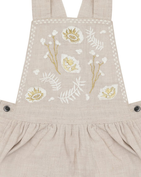 Velveteen Katie Floral Embroidered Overalls, Size 12-24 Months