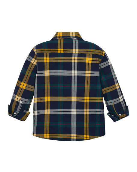 Mayoral Boy's Slim Fit Plaid Button-Down Shirt, Size 4-8