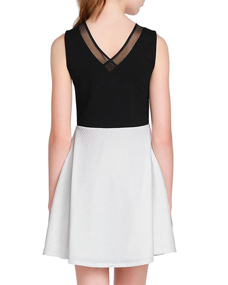 Sally Miller The Becca Two-Tone Mesh Trim Dress, Size S-XL