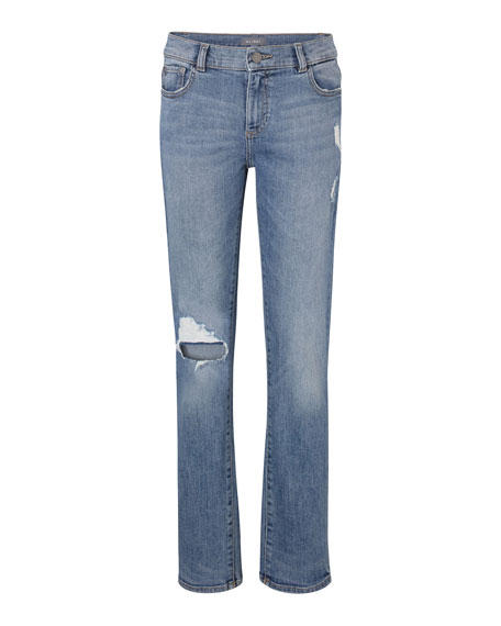 DL 1961 Boys' Hawke Skinny Ripped Straight-Leg Jeans, Size Youth 7-18