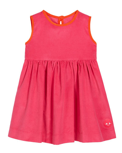 Corduroy Contrast-Trim Sleeveless Dress  Size 0m-10