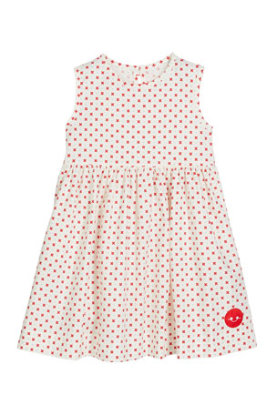 Smiling Button Darling Dot Print Sleeveless Dress, Size 0m-10