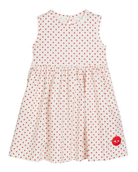 Smiling Button Darling Dot Print Sleeveless Dress, Size 0m-10