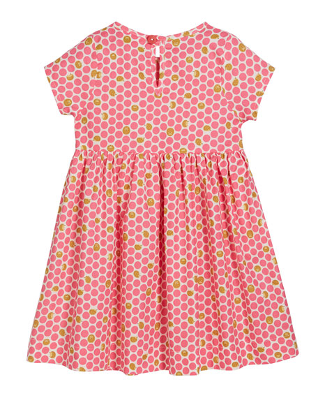 Smiling Button Hedgehog-Dotted Sunday Dress, Size 0m-10