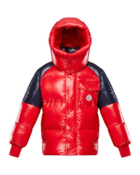 Image 1 of 3: Moncler Boy's Sigean Colorblock Puffer Coat, Size 4-6