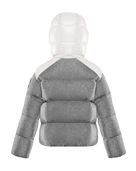 Image 2 of 2: Moncler Chouette Sparkles Detachable-Hood Puffer Coat, Size 8-14