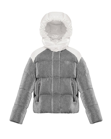 Image 1 of 2: Moncler Chouette Sparkles Detachable-Hood Puffer Coat, Size 8-14