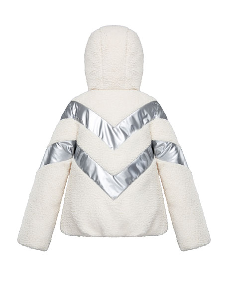 Image 3 of 3: Moncler Cabourg Chevron-Striped Hooded Coat, Size 8-14
