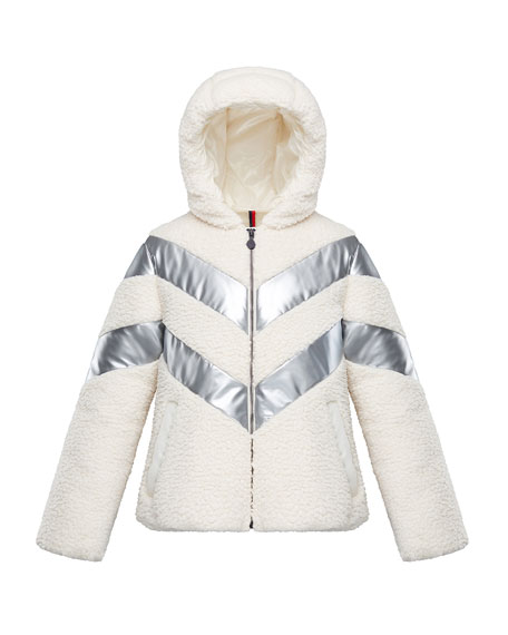 Image 1 of 3: Moncler Cabourg Chevron-Striped Hooded Coat, Size 8-14