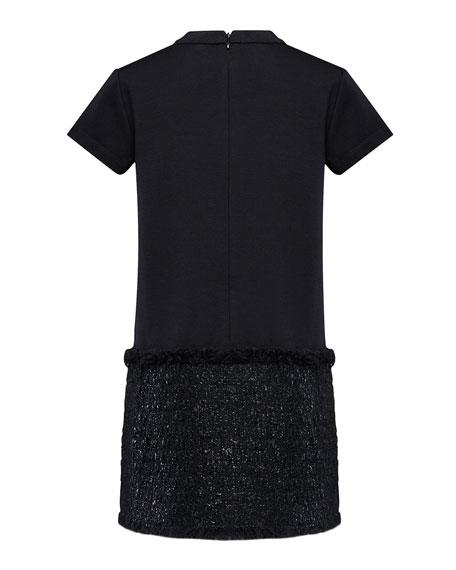 Moncler Girl's Short-Sleeve Metallic Skirt Fringe Dress, Size 8-14