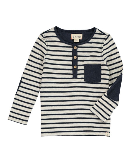 Me & Henry Striped Henley Tee w/ Children's Book, Size 2T-10