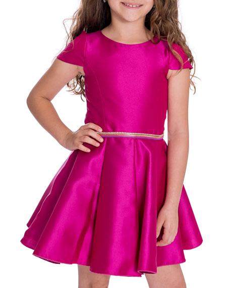 Zoe Girl's Holland Matte Sateen Dress w/ Rhinestone Belt, Size 4-6X