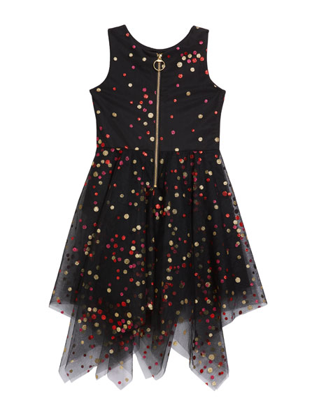 Zoe Girl's Dara Metallic Dot Print Mesh Dress, Size 4-6X