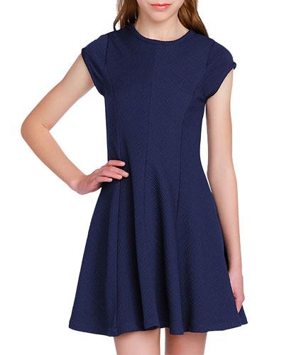 Girl's The Sandra Textured Stripe Dress  Size S-XL