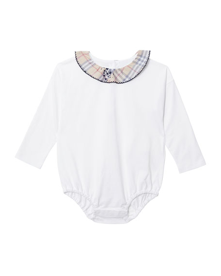 Burberry Girl's Sofia Check Star Print Suspenders Skirt w/ Matching Bodysuit, Size 3-18 Months