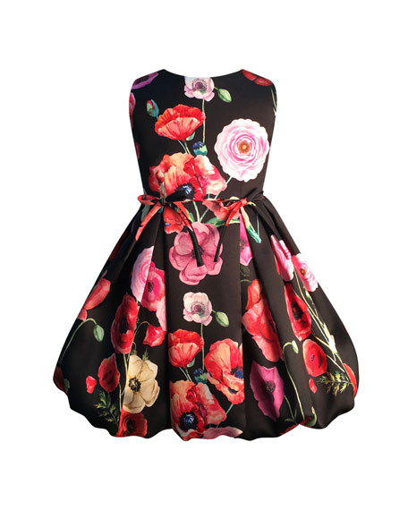 Helena Girl's Floral Print Taffeta Dress, Size 2-6