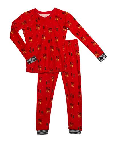 Kid's Reindeer Print Sleep Set  Size 2-14