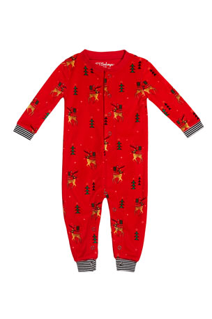 PJ Salvage Reindeer Print Silky Velour Sleep Coverall, Size 3-18 Months