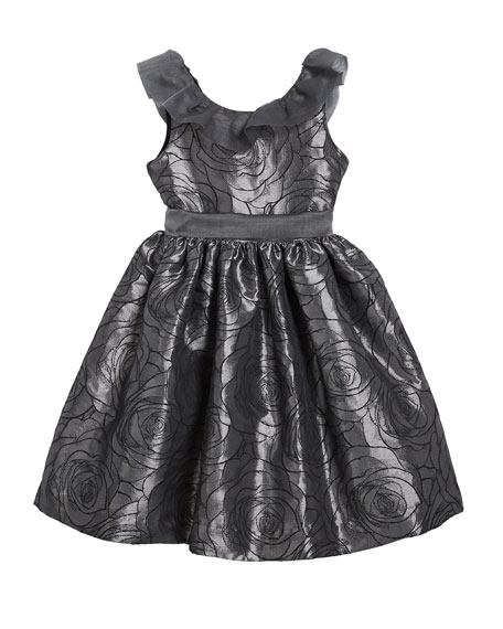 Susanne Lively Girl's Floral Jacquard Dress w/ Ruffle Organza Collar, Size 4-6X