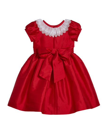 Susanne Lively Girl's Matte Sateen Dress with Lace Collar, Size 4-6X