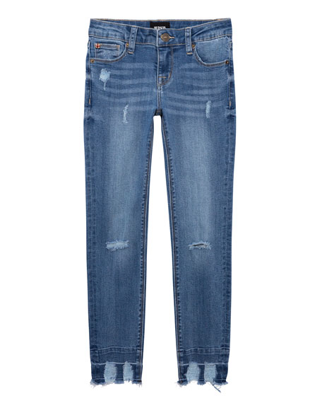 Hudson Girl's 5-Pocket Distressed Skinny Jeans with Chewed Hem, Size 7-16