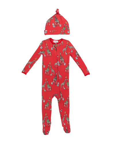 Girl's Holiday Giraffe-Print Footie Pajamas w/ Matching Hat  Size 3-24 Months