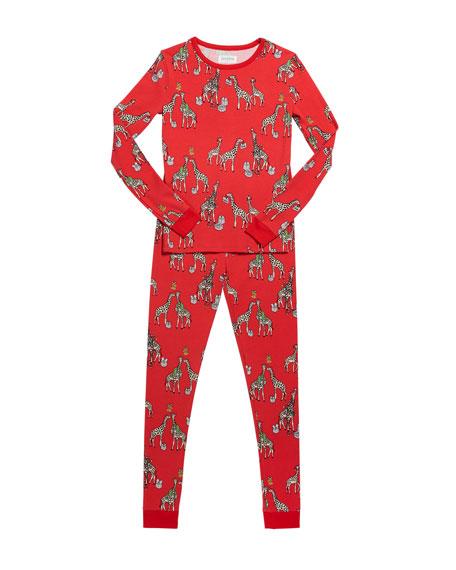 BedHead Pajamas Girl's Holiday Giraffe-Print Pajama Set, Size 10-14