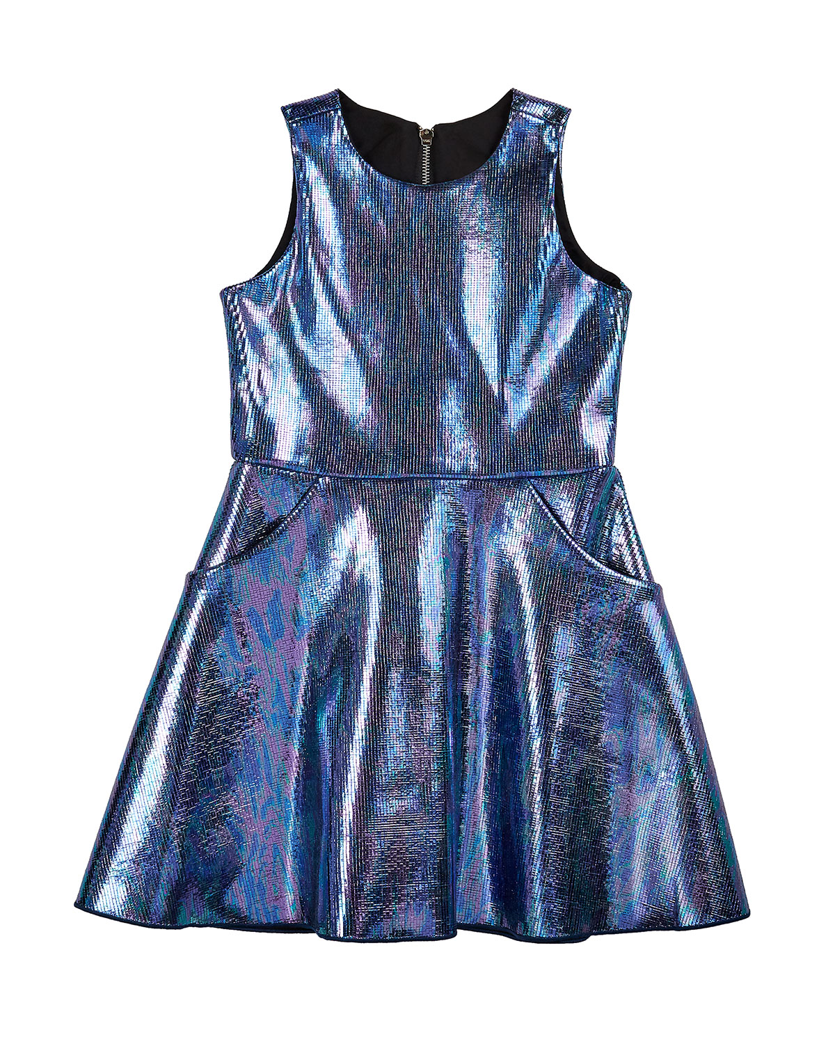 Zoe Girl's Metallic Foil Pocket Swing Dress, Size 7-14