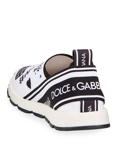Dolce & Gabbana DG + NM Maglina Slip-On Knit Logo-Patch Sneakers, Toddler/Kids