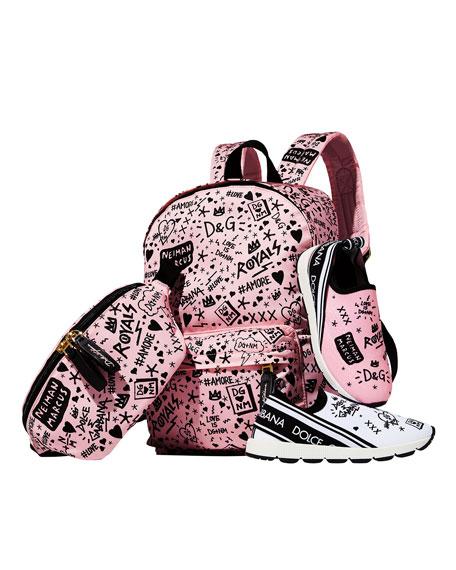 Dolce & Gabbana DG + NM Maglina Slip-On Knit Logo-Patch Sneakers, Toddler/Kids