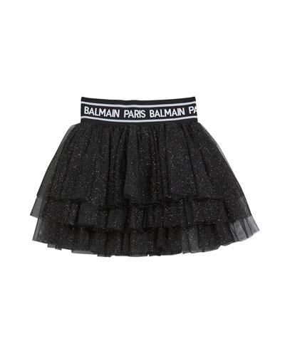 Girl's Glitter Layered Tulle Skirt  Size 4-10